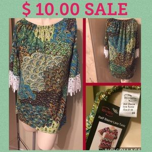 🎀NEW W TAG HALF SLEEVE TUNIC TOP SIZE S🎀